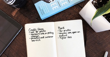 A handwritten list comparing credit unions vs banks.