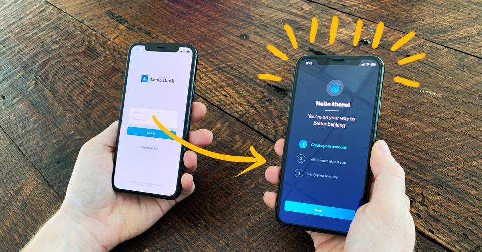 A smart phone displaying a new, better bank.