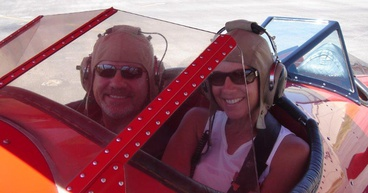 Sharon and I in Sedona playing Snoopy and Red Baron