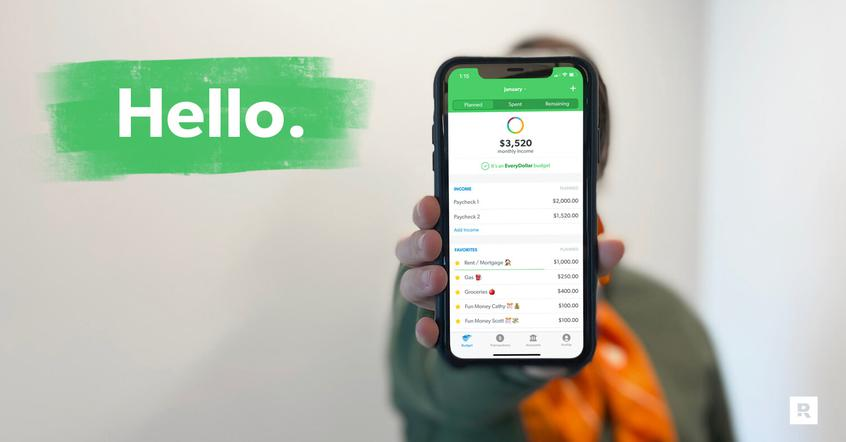 A smart phone displaying the EveryDollar app says HELLO.