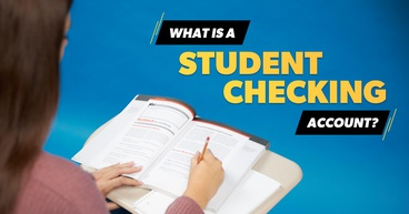 Girl writing in textbook with a text overlay stating, What Is a Checking Account?