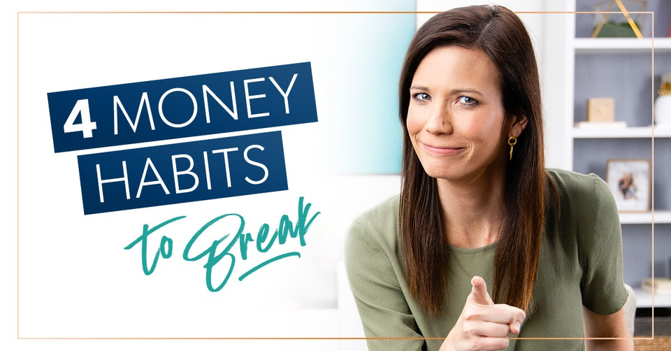 Rachel Cruze pointing and saying 4 money habits to break
