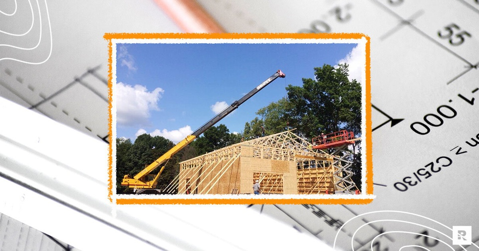 The frame of a house being built.