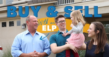 A young family standing in front of their house with their ELP because they were able to buy and sell at the same time.