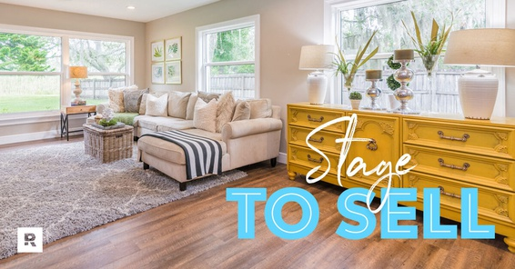 A beautiful living room in a home staging.