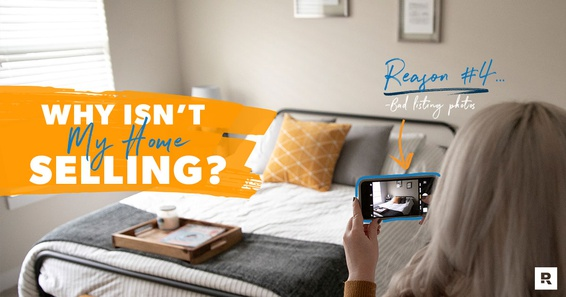 A women taking a poor photo of a room in her house contributing to reasons why her home isn't selling.