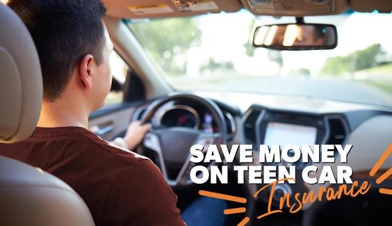 A teen driving a car on an interstate.