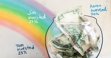 A rainbow leading to a bowl of money.