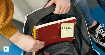 A Roth IRA notebook in a backpack.