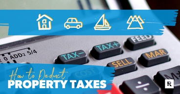 Keyboard with icons of possible property tax deductions.