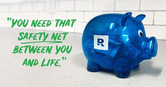 A Blue Ramsey Piggy bank sitting on a shelf.