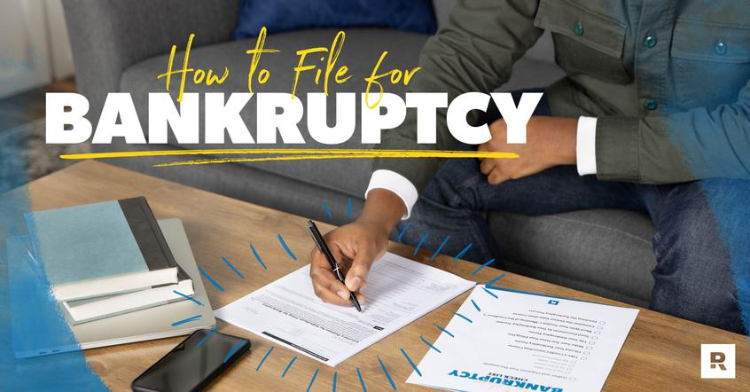 A man is learning how to file for bankruptcy by using a bankruptcy checklist.
