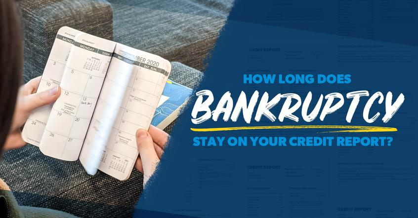 A woman thumbing through an annual pocket calendar is wondering how long bankruptcy stays on a credit report.