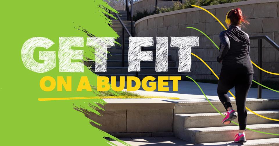 A woman is trying to get fit on a budget by running up some outdoor steps.