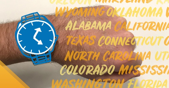 A wristwatch next to an artistic list of states in the United States of America.